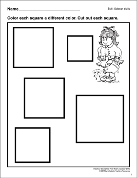 Cutting Out Squares: Preschool Basic Skills (Scissor