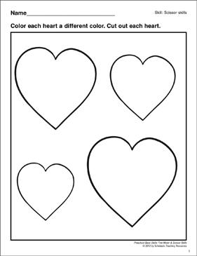 Cutting Out Hearts Preschool Basic Skills Scissor Skills