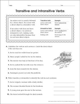 Transitive And Intransitive Verbs Worksheet : transitive, intransitive, verbs, worksheet, Transitive/Intransitive, Verbs:, Grammar, Practice, Printable, Skills, Sheets