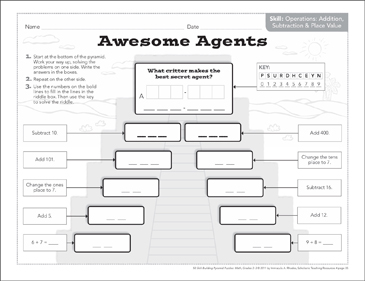 Awesome Agents (Addition, Subtraction & Place Value): Math