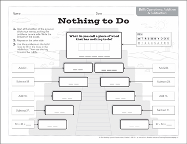 Nothing to Do (Addition & Subtraction): Math Pyramid
