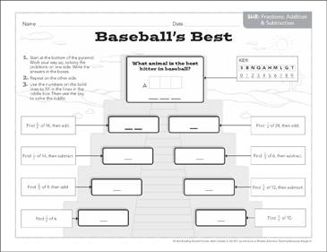 Baseball's Best (Fractions): Math Pyramid Puzzle