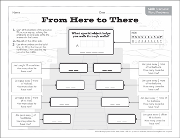 From Here to There (Fraction Word Problems): Math Pyramid