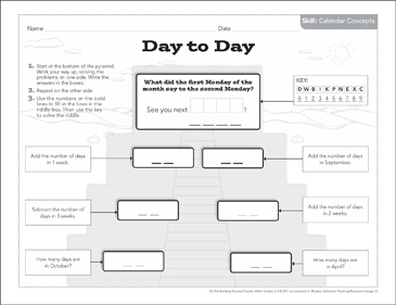 Day to Day (Calendar Concepts): Math Pyramid Puzzle