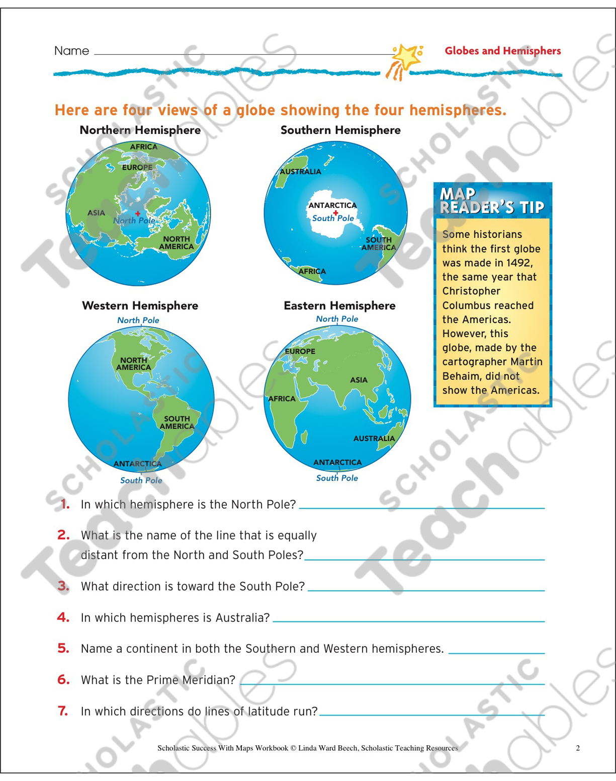 The Earth S Hemispheres Worksheets