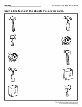 Alike Amp Different Preschool Basic Skills Matching 1