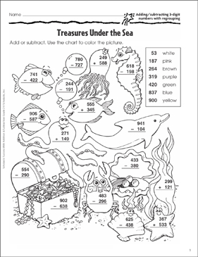 Treasures Under the Sea (Add/Subtract 3-Digits