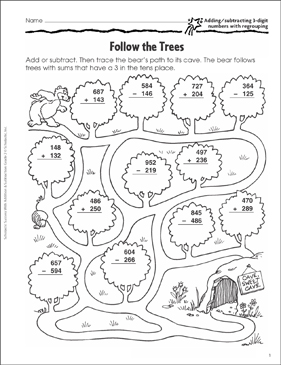 Follow the Trees (Add/Subtract 3-Digit Numbers