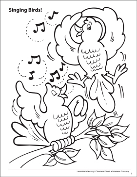 Look What's Buzzing Coloring Page: Singing Birds