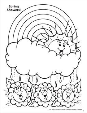 Look What S Buzzing Coloring Page Spring Flowers Printable Coloring Pages