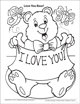 Look What's Buzzing Coloring Page: Love You Bear
