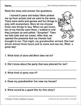 Reading Comprehension  Reasoning (the Best Birthday)  Printable Skills Sheets