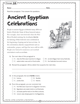 The Ancient Egyptian Celebrations Close Reading Passage