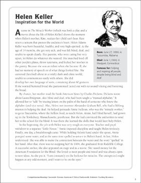 Helen Keller Text Amp Crossword Puzzle