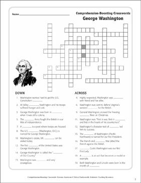 George Washington Text  Crossword Puzzle  Printable