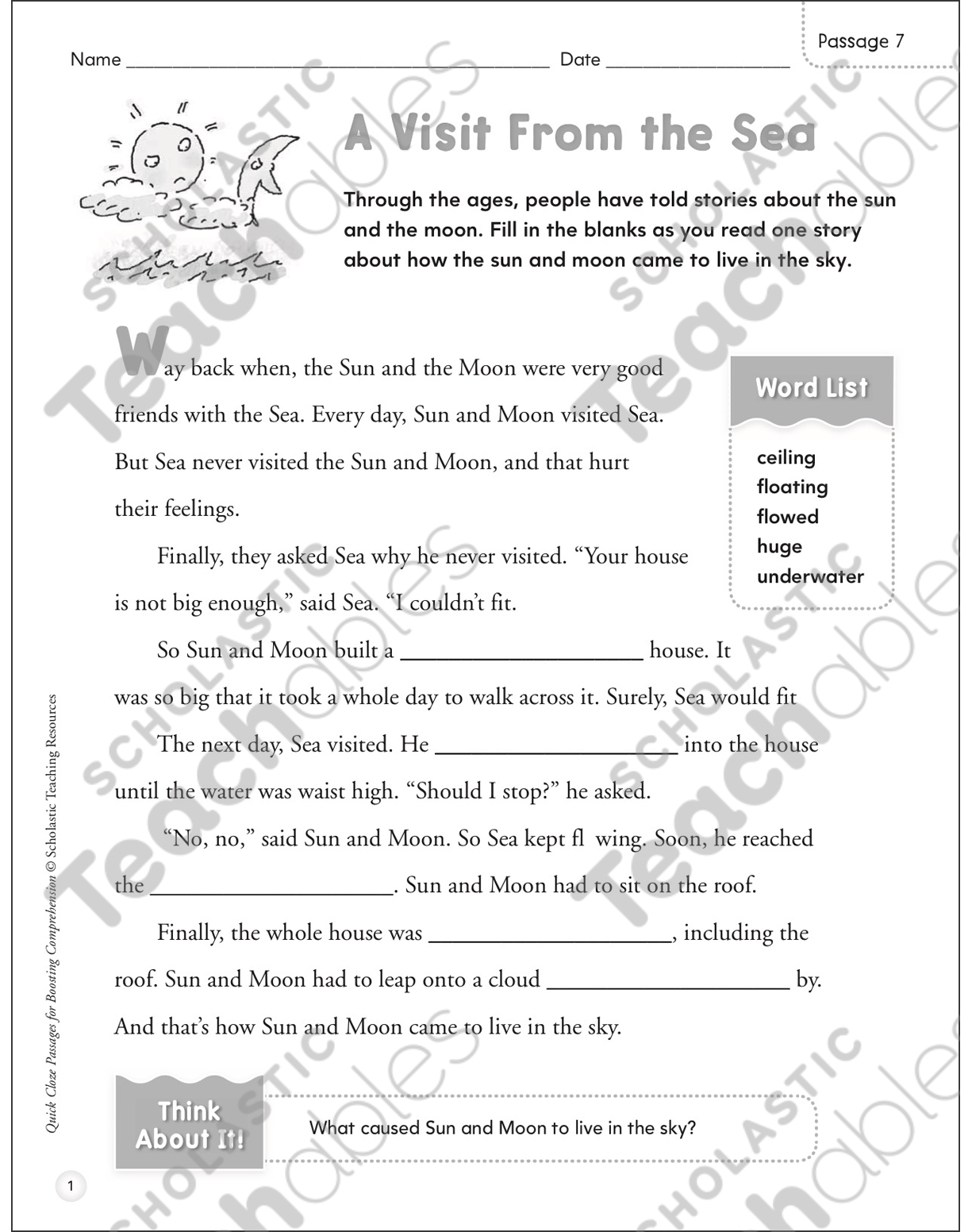 hight resolution of A Visit From the Sea: Quick Cloze Passage   Printable Skills Sheets