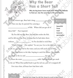Why the Bear Has a Short Tail: Quick Cloze Passage   Printable Skills  Sheets [ 1552 x 1225 Pixel ]