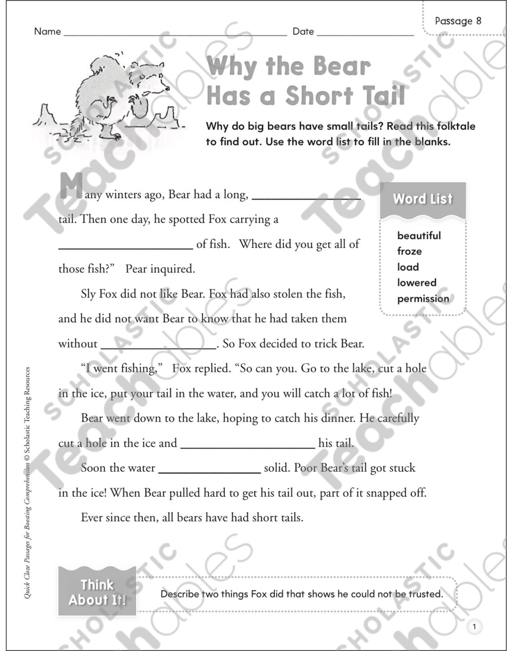 medium resolution of Why the Bear Has a Short Tail: Quick Cloze Passage   Printable Skills  Sheets