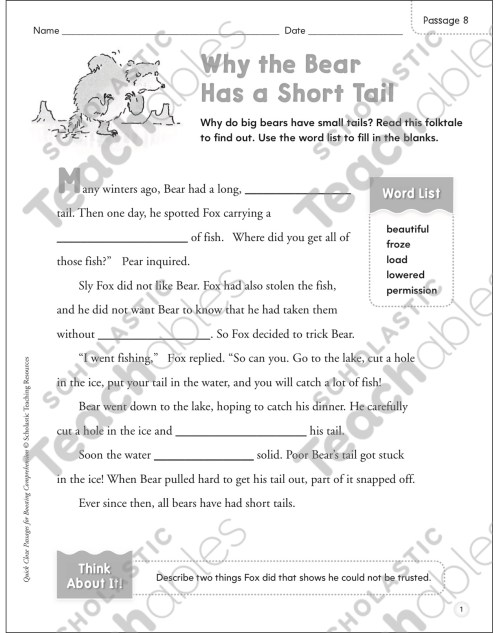 small resolution of Why the Bear Has a Short Tail: Quick Cloze Passage   Printable Skills  Sheets