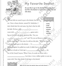 My Favorite Dentist: Quick Cloze Passage   Printable Skills Sheets [ 1552 x 1225 Pixel ]