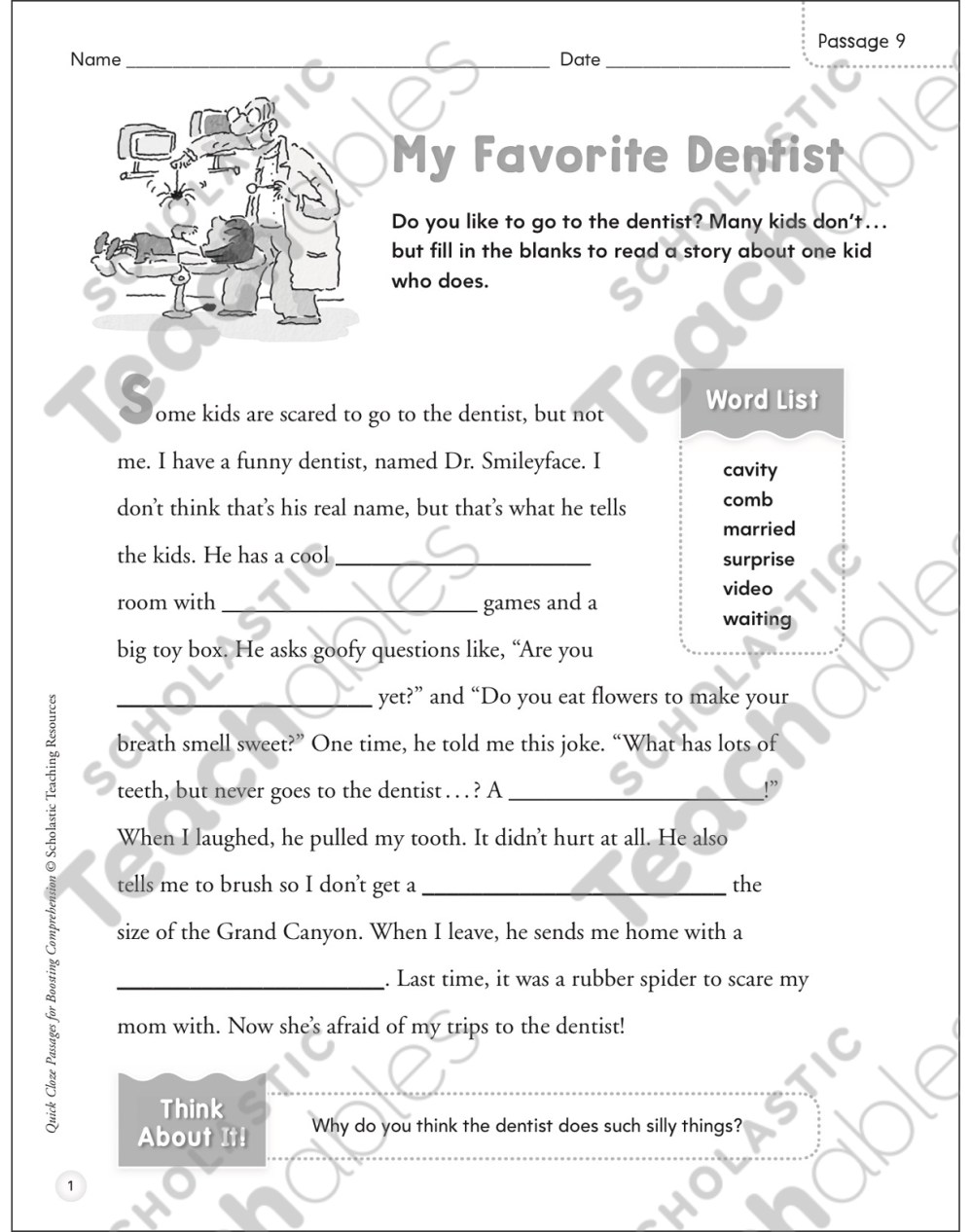 medium resolution of My Favorite Dentist: Quick Cloze Passage   Printable Skills Sheets
