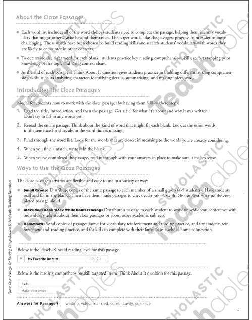 small resolution of My Favorite Dentist: Quick Cloze Passage   Printable Skills Sheets