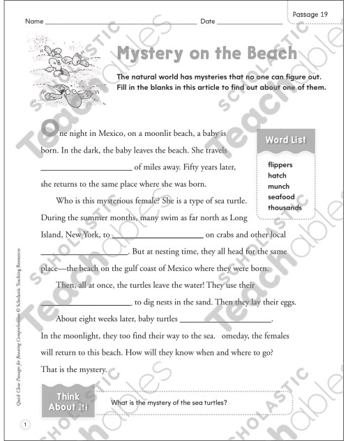 small resolution of Mystery on the Beach: Quick Cloze Passage   Printable Skills Sheets