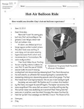 HotAir Balloon Ride Text  Questions  Printable Texts