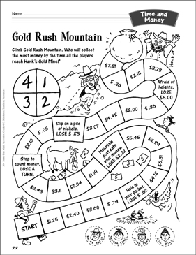 Gold Rush Mountain (Money Game): Time and Money Activity