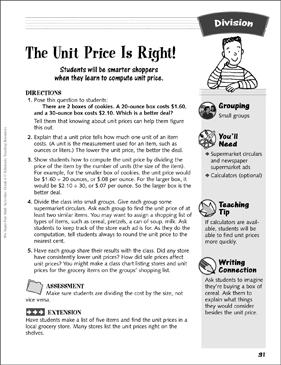 The Unit Price Is Right Division Activity