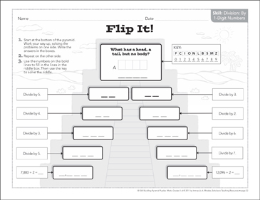 Flip It! (Dividing by 1-Digit Numbers): Math Pyramid