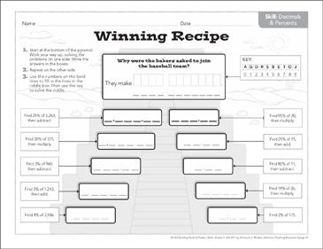 Winning Recipe (Decimals & Percents): Math Pyramid Puzzle