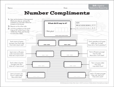 Number Compliments (Deductive Reasoning): Math Pyramid