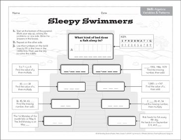 Sleepy Swimmers (Variables & Patterns): Math Pyramid