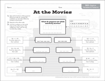 At the Movies (Variables & Patterns): Math Pyramid Puzzle