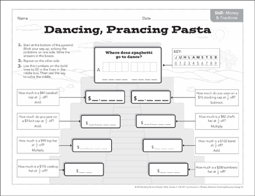 Dancing, Prancing Pasta (Money & Fractions): Math Pyramid