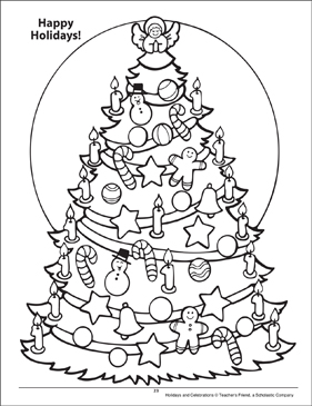 Happy Holidays! Holidays and Celebrations Coloring Page