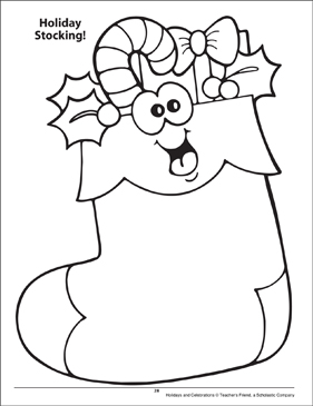 Holiday Stocking. Holidays and Celebrations Coloring Page