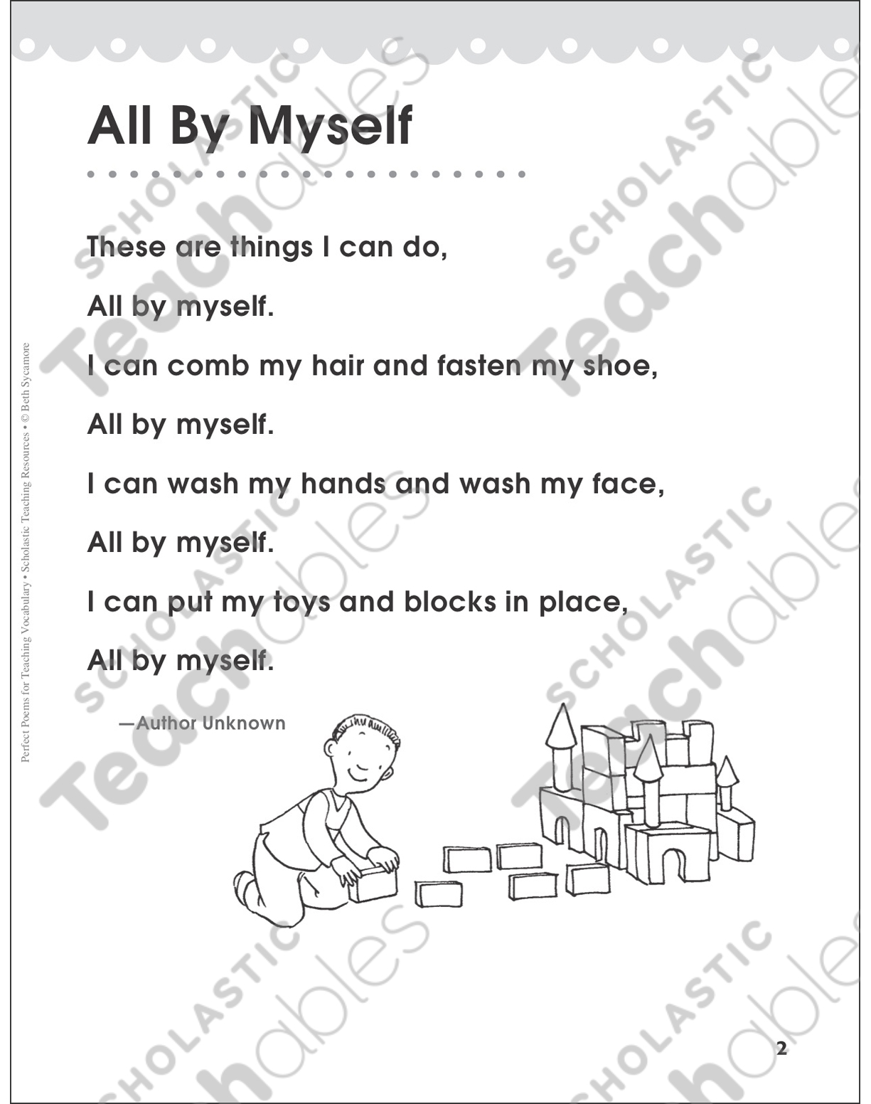 hight resolution of All By Myself (Target Word: Fasten)   Printable Lesson Plans and Ideas