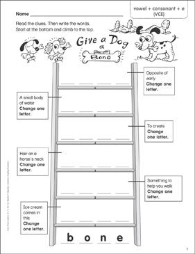 Give a Dog a Bone (vowel + consonant + e (VCE)) Word