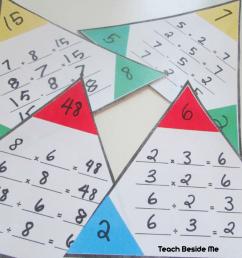 Printable Math Fact Families Cards - Teach Beside Me [ 826 x 1246 Pixel ]