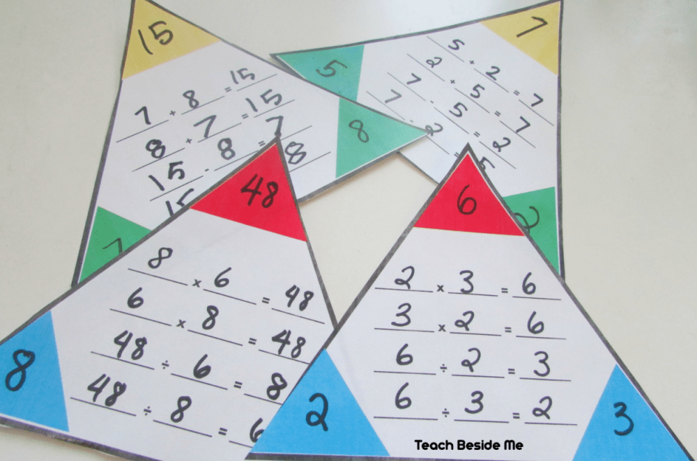 medium resolution of Printable Math Fact Families Cards - Teach Beside Me