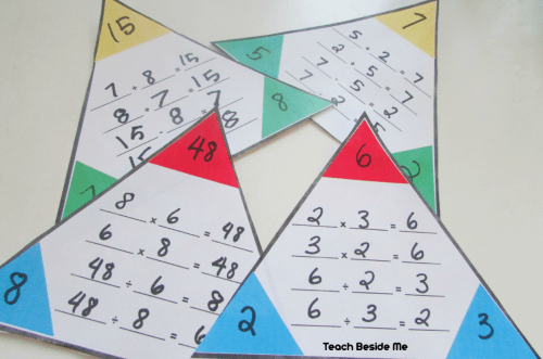 small resolution of Printable Math Fact Families Cards - Teach Beside Me