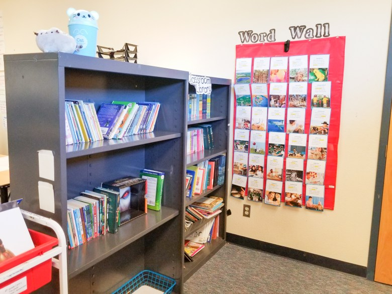 Classroom library, word wall and reading area
