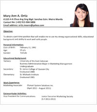 Resume Sample Philippines Setting