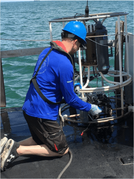 Scientist James Sulikowski prepares the CTD for deployment