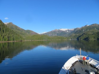 Sailing in to Warm Springs Bay, AK