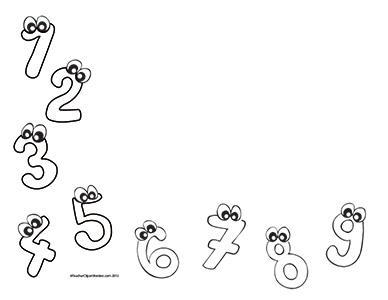 Cutie Numbers- Landscape- Blank- Teacher Clipart Borders
