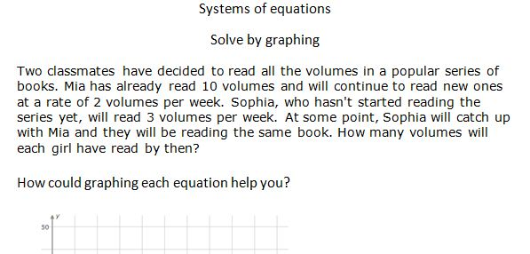 Introducing systems of equations graphing Curiouser and