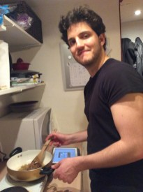 Cristian cooking for his British fiancee - who also is a lepster